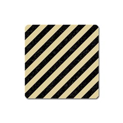 Stripes3 Black Marble & Light Sand Square Magnet by trendistuff