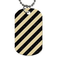 Stripes3 Black Marble & Light Sand Dog Tag (one Side) by trendistuff