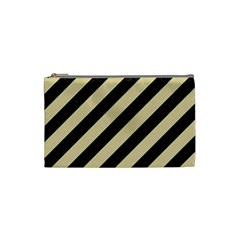Stripes3 Black Marble & Light Sand Cosmetic Bag (small)  by trendistuff