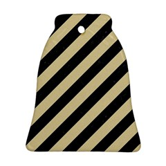 Stripes3 Black Marble & Light Sand Bell Ornament (two Sides) by trendistuff