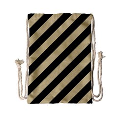 Stripes3 Black Marble & Light Sand Drawstring Bag (small) by trendistuff