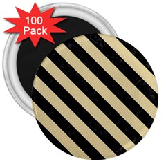 Stripes3 Black Marble & Light Sand (r) 3  Magnets (100 Pack) by trendistuff