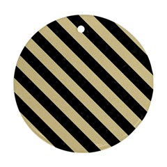 Stripes3 Black Marble & Light Sand (r) Round Ornament (two Sides) by trendistuff