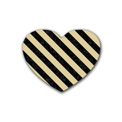 Stripes3 Black Marble & Light Sand (r) Rubber Coaster (heart)  by trendistuff