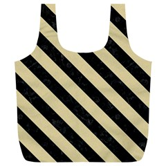 Stripes3 Black Marble & Light Sand (r) Full Print Recycle Bags (l)  by trendistuff