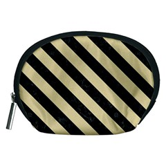 Stripes3 Black Marble & Light Sand (r) Accessory Pouches (medium)