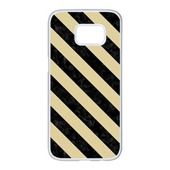 Stripes3 Black Marble & Light Sand (r) Samsung Galaxy S7 Edge White Seamless Case by trendistuff