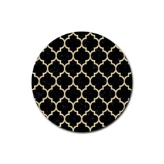 Tile1 Black Marble & Light Sand Rubber Coaster (round)  by trendistuff