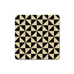 Triangle1 Black Marble & Light Sand Square Magnet by trendistuff