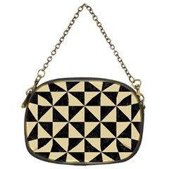 Triangle1 Black Marble & Light Sand Chain Purses (two Sides)  by trendistuff