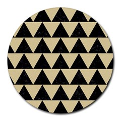 Triangle2 Black Marble & Light Sand Round Mousepads by trendistuff