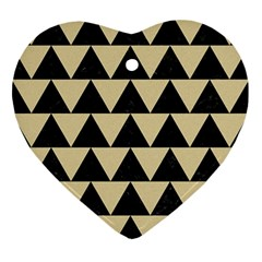 Triangle2 Black Marble & Light Sand Ornament (heart) by trendistuff