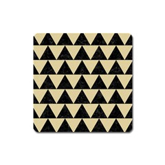 Triangle2 Black Marble & Light Sand Square Magnet by trendistuff
