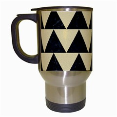 Triangle2 Black Marble & Light Sand Travel Mugs (white) by trendistuff
