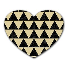 Triangle2 Black Marble & Light Sand Heart Mousepads by trendistuff
