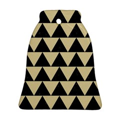 Triangle2 Black Marble & Light Sand Bell Ornament (two Sides) by trendistuff