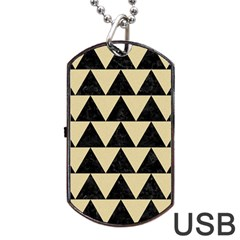 Triangle2 Black Marble & Light Sand Dog Tag Usb Flash (two Sides) by trendistuff