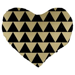 Triangle2 Black Marble & Light Sand Large 19  Premium Heart Shape Cushions by trendistuff