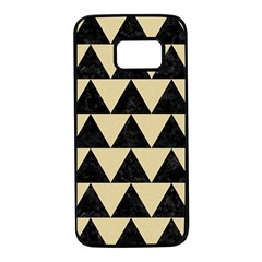 Triangle2 Black Marble & Light Sand Samsung Galaxy S7 Black Seamless Case by trendistuff