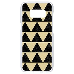 Triangle2 Black Marble & Light Sand Samsung Galaxy S8 White Seamless Case by trendistuff