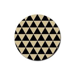 Triangle3 Black Marble & Light Sand Rubber Coaster (round)  by trendistuff