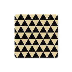 Triangle3 Black Marble & Light Sand Square Magnet by trendistuff