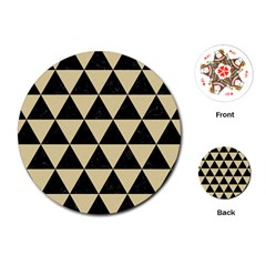 Triangle3 Black Marble & Light Sand Playing Cards (round)  by trendistuff