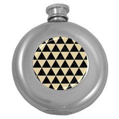 Triangle3 Black Marble & Light Sand Round Hip Flask (5 Oz) by trendistuff