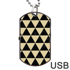 Triangle3 Black Marble & Light Sand Dog Tag Usb Flash (two Sides) by trendistuff
