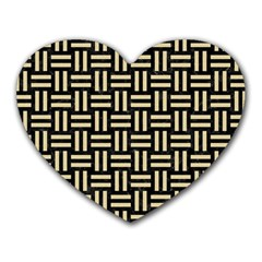 Woven1 Black Marble & Light Sand Heart Mousepads by trendistuff