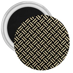 Woven2 Black Marble & Light Sand 3  Magnets by trendistuff