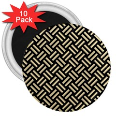 Woven2 Black Marble & Light Sand 3  Magnets (10 Pack)  by trendistuff