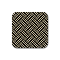 Woven2 Black Marble & Light Sand Rubber Coaster (square)  by trendistuff