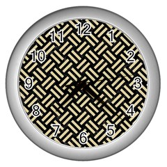 Woven2 Black Marble & Light Sand Wall Clocks (silver)  by trendistuff