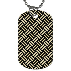 Woven2 Black Marble & Light Sand Dog Tag (one Side) by trendistuff