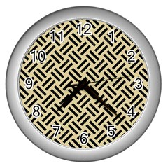 Woven2 Black Marble & Light Sand (r) Wall Clocks (silver)  by trendistuff