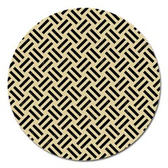 Woven2 Black Marble & Light Sand (r) Magnet 5  (round) by trendistuff