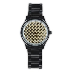 Woven2 Black Marble & Light Sand (r) Stainless Steel Round Watch by trendistuff