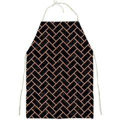 Brick2 Black Marble & Natural Red Birch Wood Full Print Aprons by trendistuff