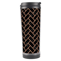 Brick2 Black Marble & Natural Red Birch Wood Travel Tumbler by trendistuff