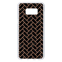 Brick2 Black Marble & Natural Red Birch Wood Samsung Galaxy S8 Plus White Seamless Case by trendistuff