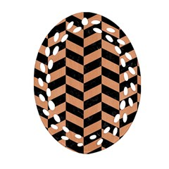 Chevron1 Black Marble & Natural Red Birch Wood Oval Filigree Ornament (two Sides) by trendistuff