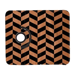 Chevron1 Black Marble & Natural Red Birch Wood Galaxy S3 (flip/folio) by trendistuff