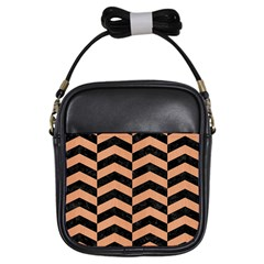 Chevron2 Black Marble & Natural Red Birch Wood Girls Sling Bags by trendistuff