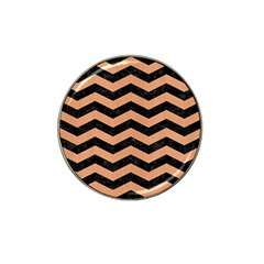 Chevron3 Black Marble & Natural Red Birch Wood Hat Clip Ball Marker (4 Pack) by trendistuff