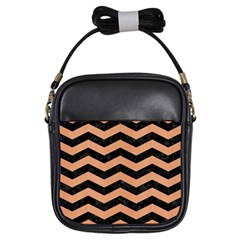 Chevron3 Black Marble & Natural Red Birch Wood Girls Sling Bags by trendistuff