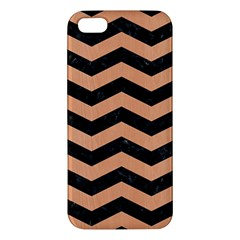 Chevron3 Black Marble & Natural Red Birch Wood Apple Iphone 5 Premium Hardshell Case