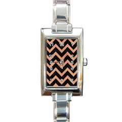 Chevron9 Black Marble & Natural Red Birch Wood Rectangle Italian Charm Watch by trendistuff