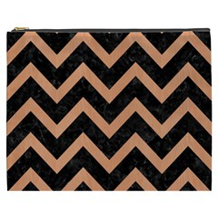 Chevron9 Black Marble & Natural Red Birch Wood Cosmetic Bag (xxxl)  by trendistuff