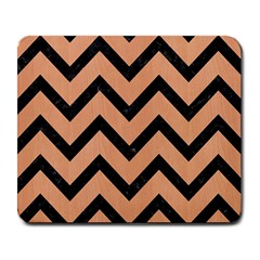 Chevron9 Black Marble & Natural Red Birch Wood (r) Large Mousepads by trendistuff